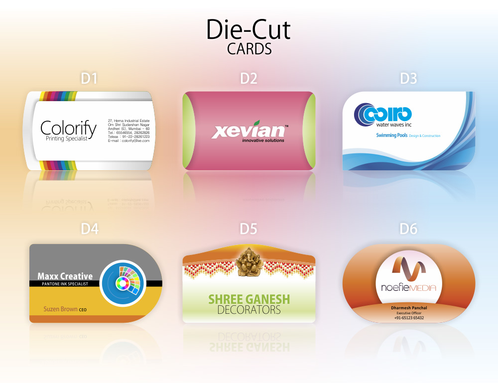 Die cut visiting cards printing service whizz prints for Service design firms